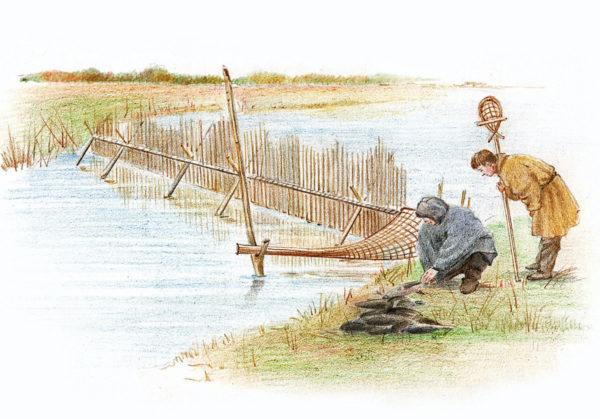Художник изобразил три разных способа рыбной ловли у ханты и манси: реку перегородили; приготовили ловушку и плетёный сачок.
